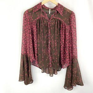 Free People Serena Printed Blouse Berry Combo XS